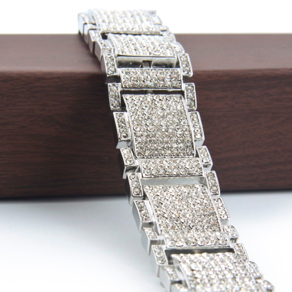 14K White Gold Diamond King Bracelet