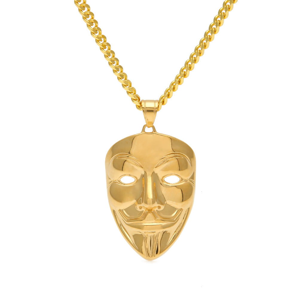 18K Gold Anonymous Mask Pendant