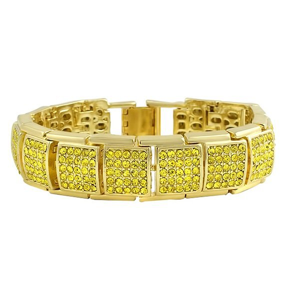 Bracelet Full Gold Iced Out / 18k Gold Plated / CZ Diamonds / 19 CM