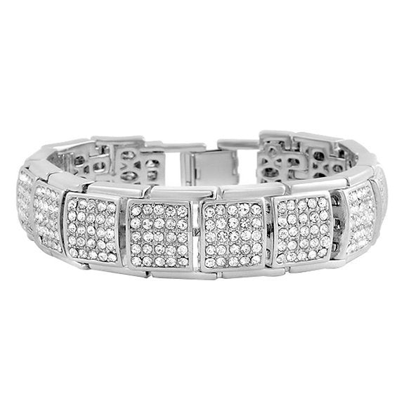 Iced out Bracelet Silver  / CZ Diamonds / 19 CM