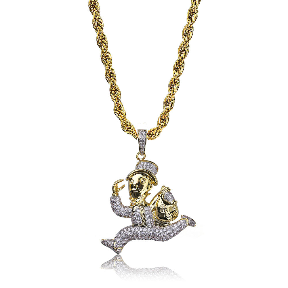 18K Gold Diamond Running Man Cash Pendant