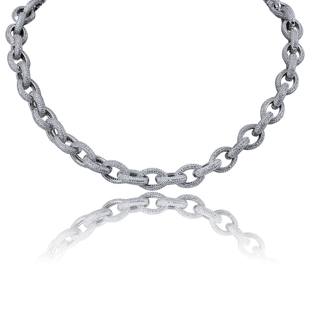 Raw Iced Necklace 14K White Gold