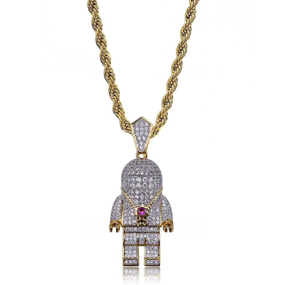 18K Gold Astro Diamond Pendant