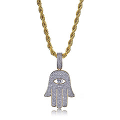 18K Gold Iced Out One Eye Hand Pendant