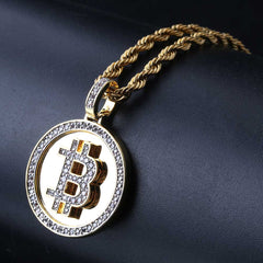 18K Gold Diamond Bitcoin Pendant