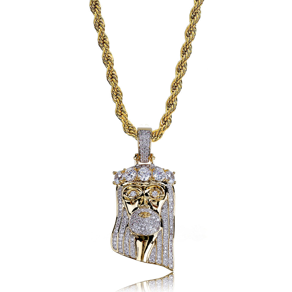 18K Gold Diamond Jesus Piece