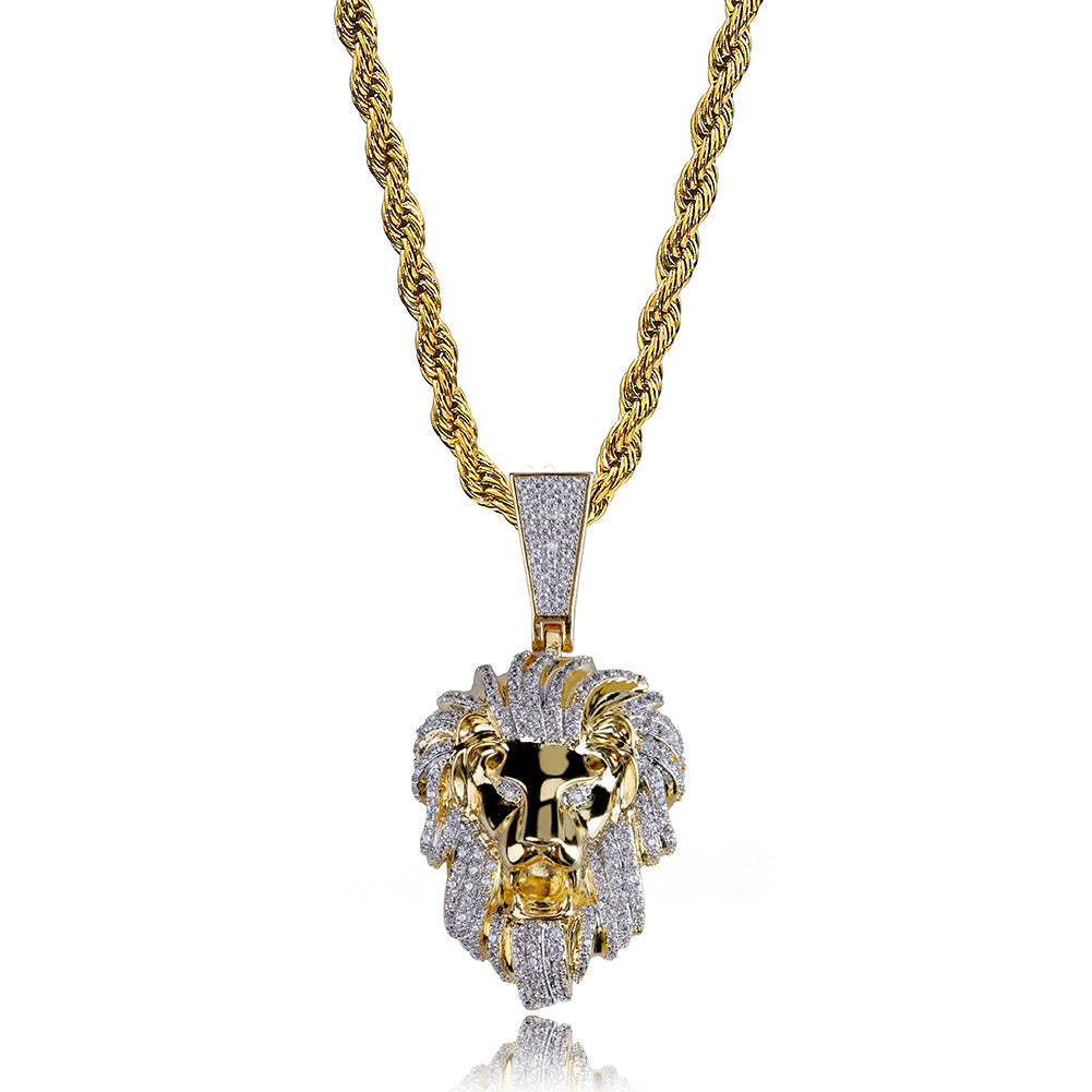 18K Gold Lion Diamond Pendant