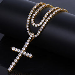18K Gold Diamond Ankh Tennis Chain Bundle Set