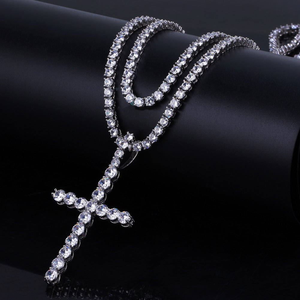 14K White Gold Diamond Ankh Tennis Chain Bundle Set