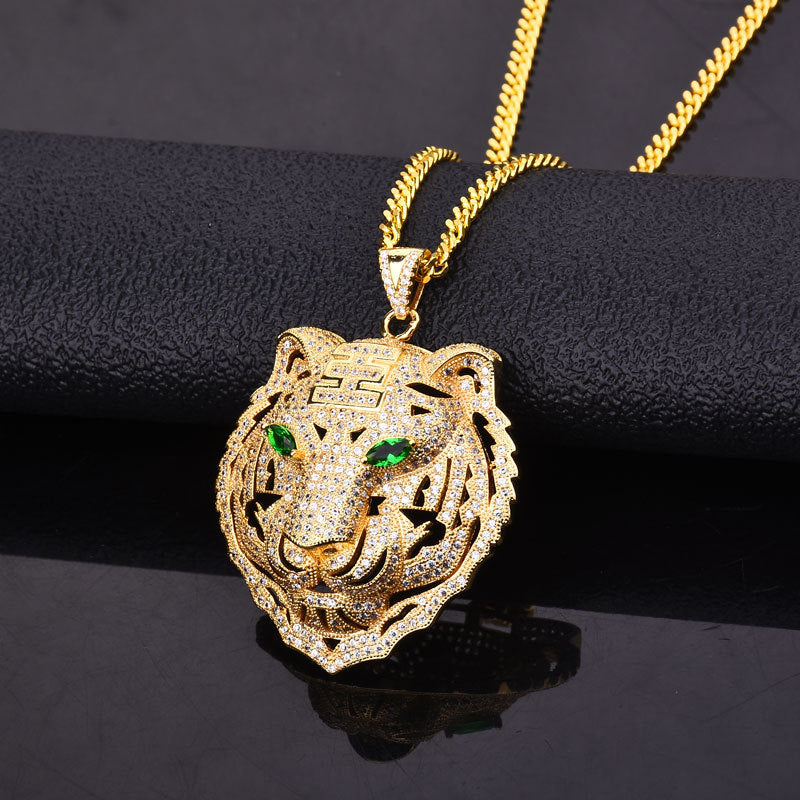 18K Gold Diamond Tiger Pendant