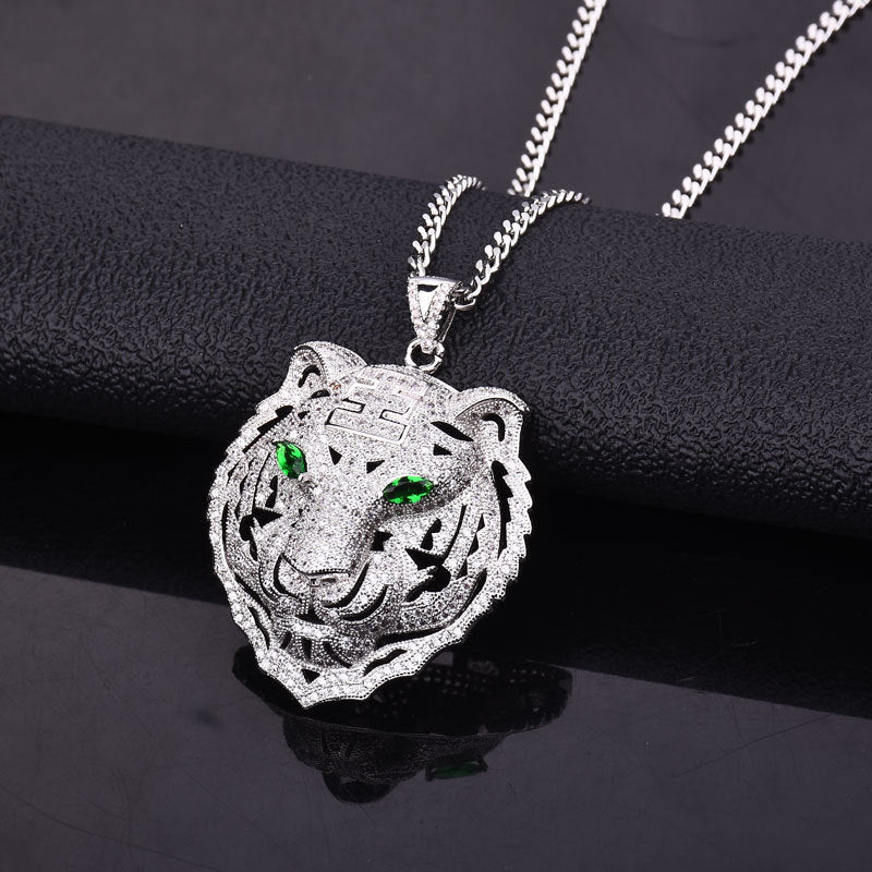 14K White Gold Diamond Tiger Pendant