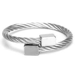 18K White Gold Square Leather Bracelet