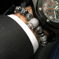 Black Diamond Skull Beaded Bracelet
