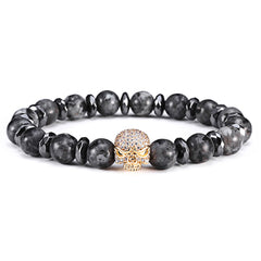 18K Gold Diamond Skull Beaded Bracelet