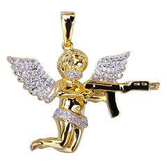 18K Gold Diamond Shooting Angel Pendant