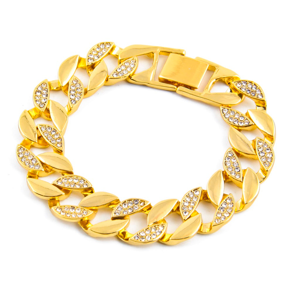 Golden Cuban Iced Out Bracelet