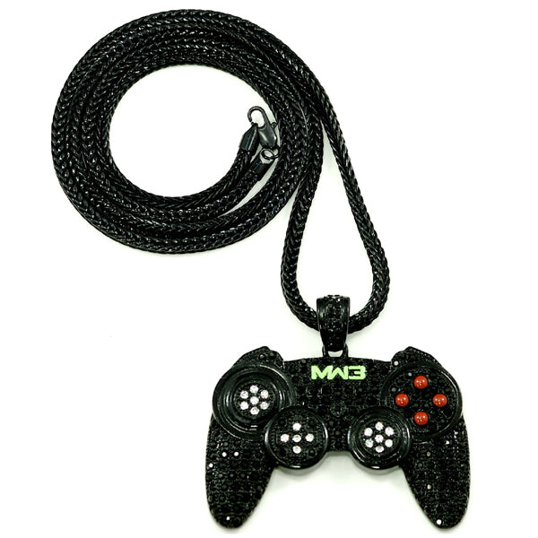 PS3 Controller Iced Out Black Necklace