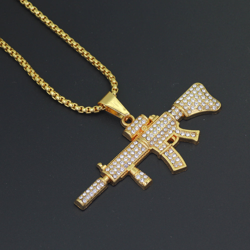 Gun Iced Out Necklace