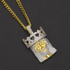 Jesus Piece Crown Gold Necklace