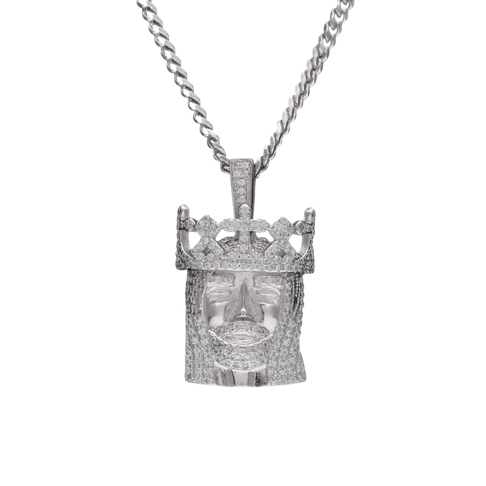 Jesus Piece Crown Silver Necklace