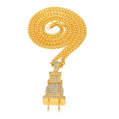 18K Gold Diamond Plug Pendant