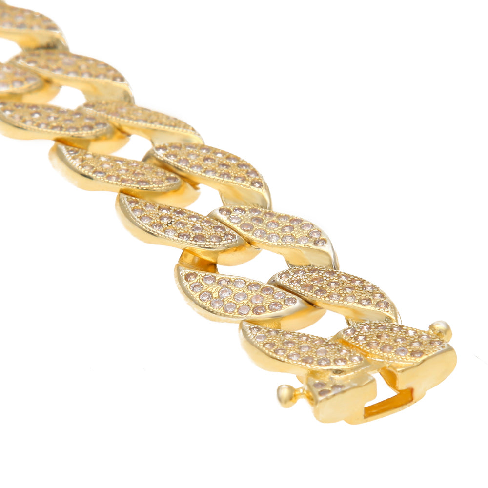 Iced Out Bracelet  Gold / 18K Gold Plated / CZ Diamonds / 20 CM
