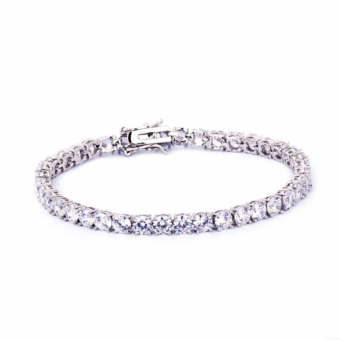 Tennis Bracelet White Gold / 24K White Gold Plated / CZ Diamonds /3mm - 6 mm/ 7 inch & 8 inch