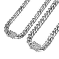 Miami Cuban Link 14K White Gold Plated Set