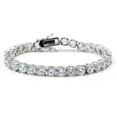 24K White Gold 3-6mm Tennis Bracelet