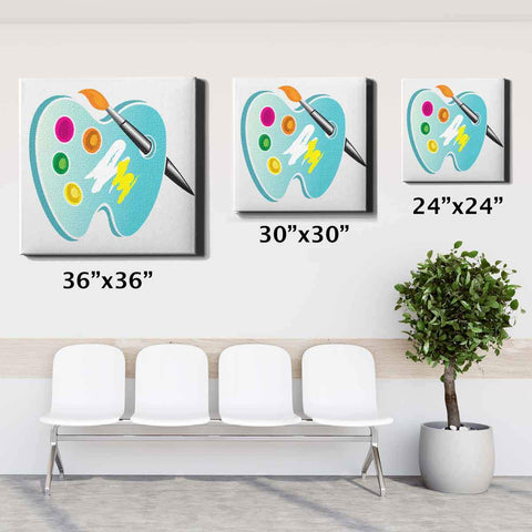 Image of Dental Office Canvas Wall Art Framed Abstract Tooth 24x24 30x30 36x36