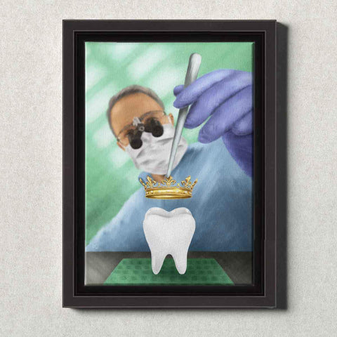 Dental Office Canvas Wall Art Framed Dental Crown