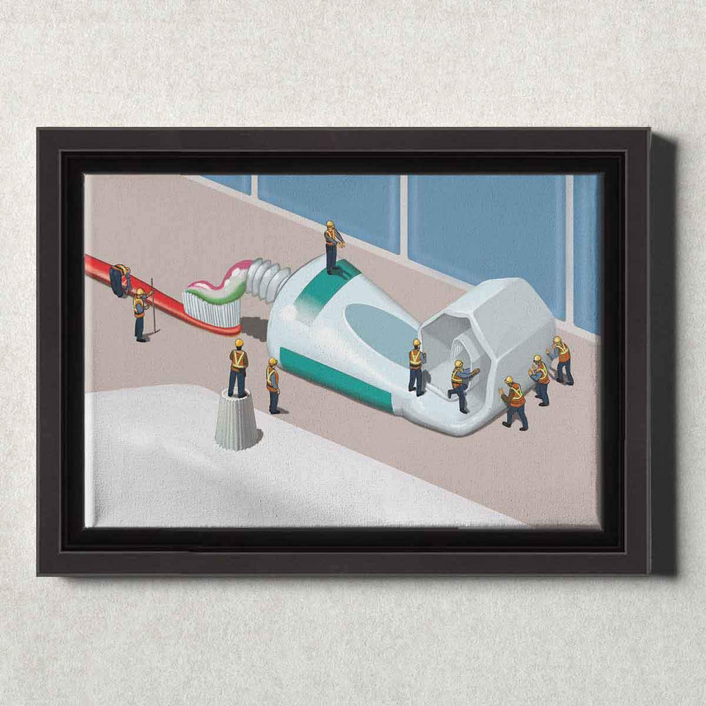 Dental Office Canvas Wall Art Framed Squeezing the Tube
