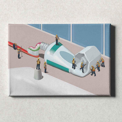 Image of Dental Office Canvas Wall Art Gallery Wrapped Squeezing the Tube