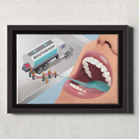 Image of Dental Office Canvas Wall Art Framed Squeezing the Tube