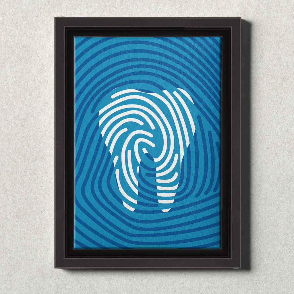 Dental Office Canvas Wall Art Framed Tooth Print Blue