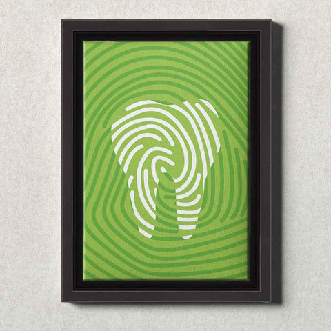 Image of Dental Office Canvas Wall Art Framed Tooth Print Green