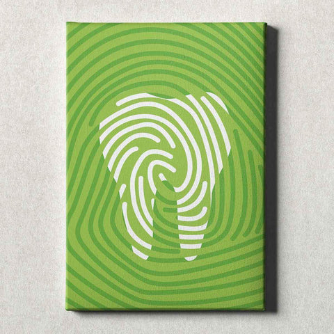 Image of Dental Office Canvas Wall Art Gallery Wrapped Tooth Print Green