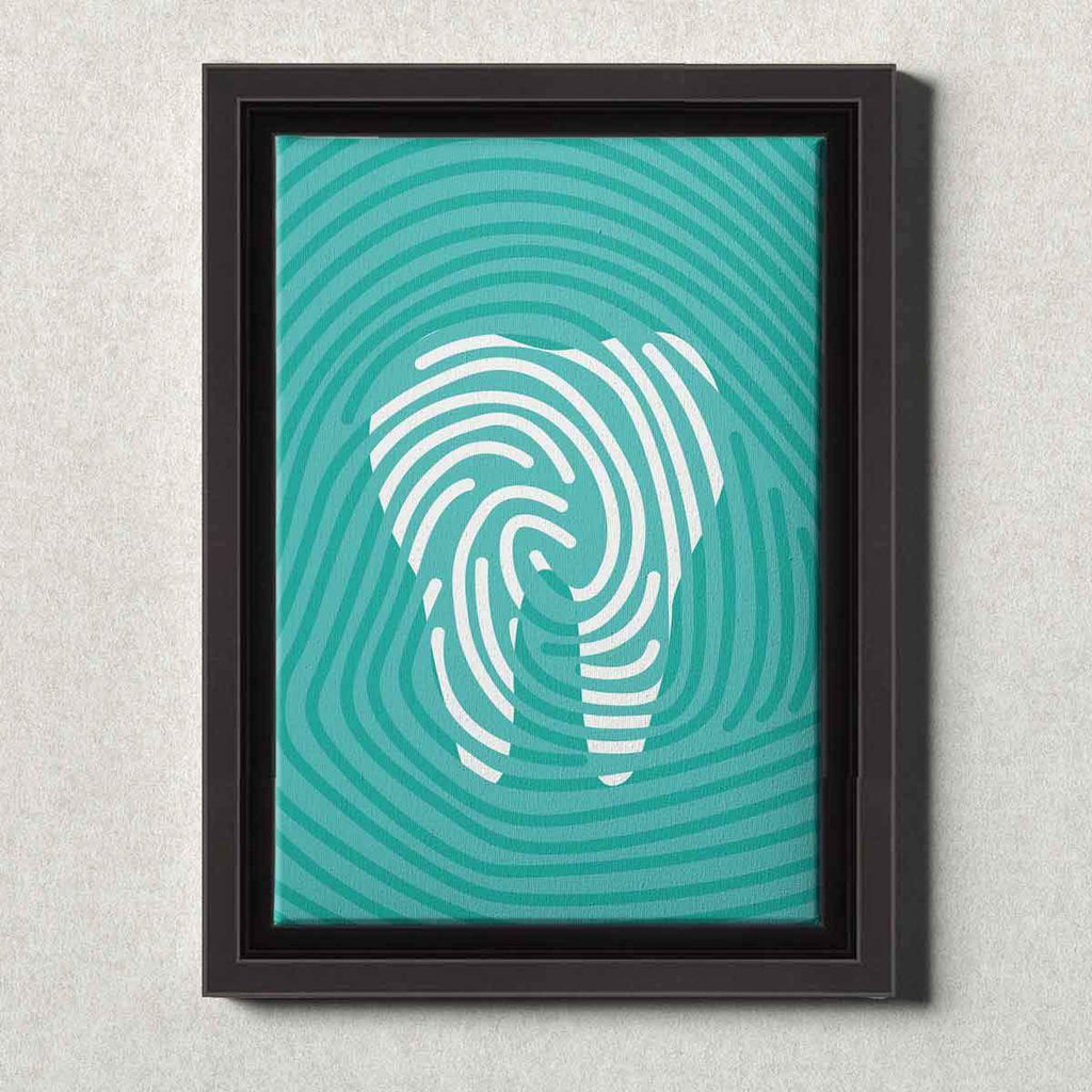 Dental Office Canvas Wall Art Framed Tooth Print Teal