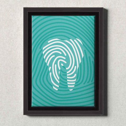 Image of Dental Office Canvas Wall Art Framed Tooth Print Teal