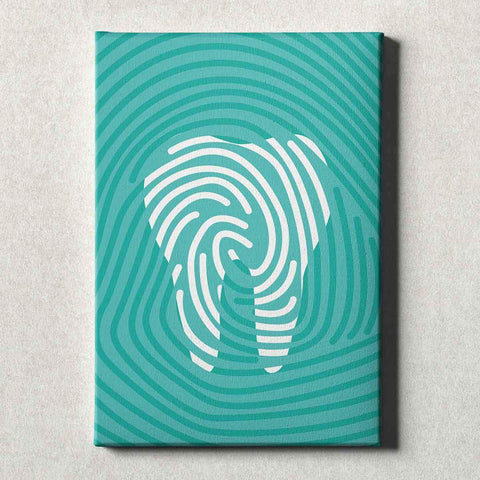 Image of Dental Office Canvas Wall Art Gallery Wrapped Tooth Print Teal