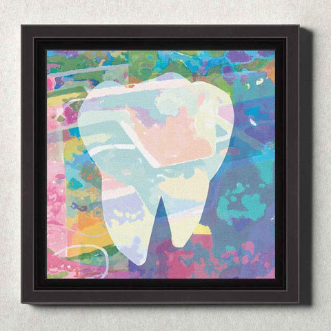 Image of Dental Office Canvas Wall Art Framed Abstract Tooth Blue