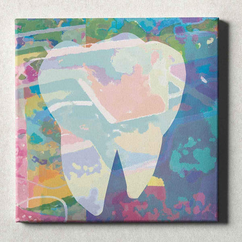 Dental Office Canvas Wall Art Gallery Wrapped Abstract Tooth Blue