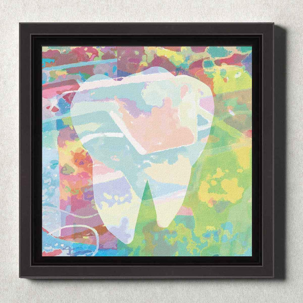 Dental Office Canvas Wall Art Framed Abstract Tooth Green