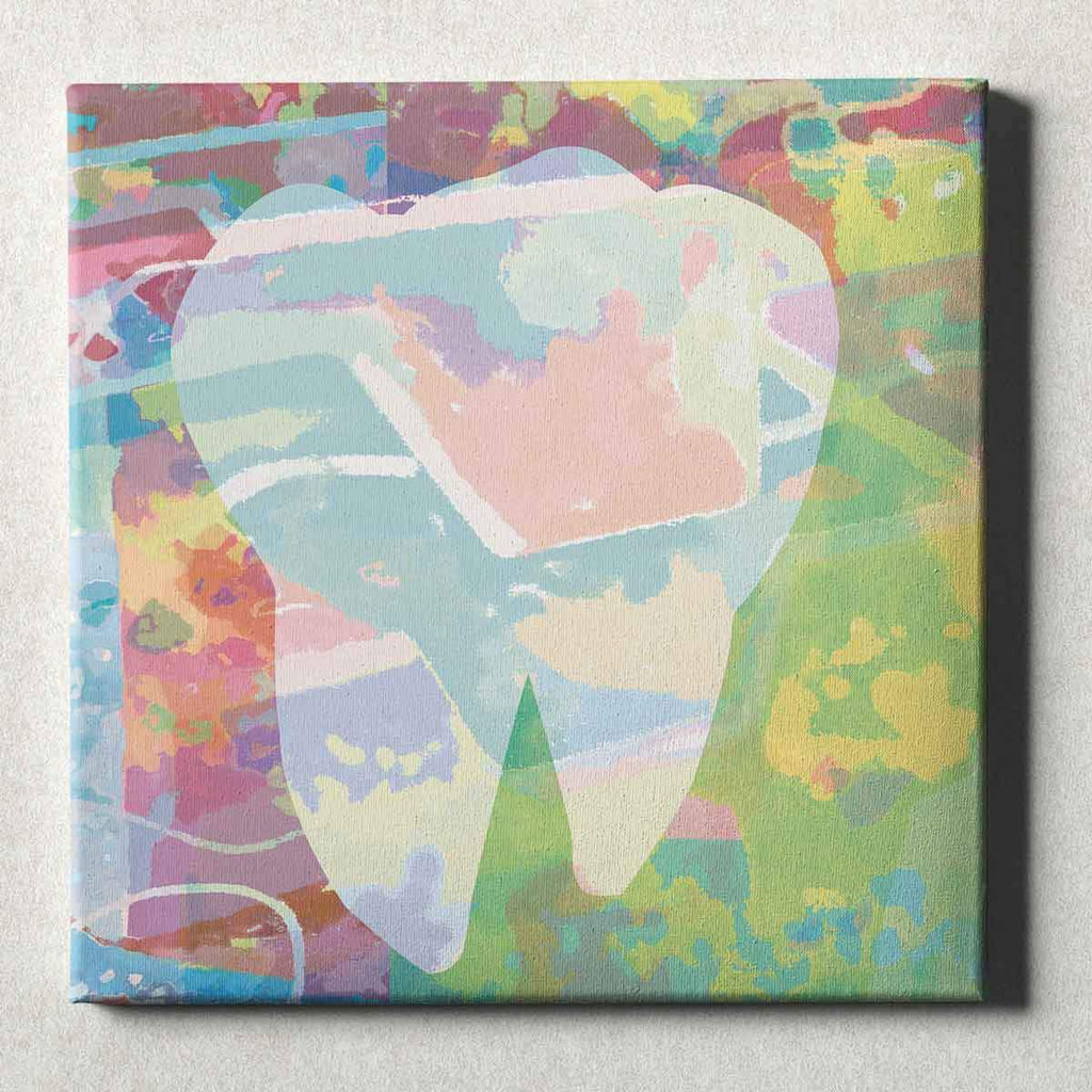 Dental Office Canvas Wall Art Gallery Wrapped Abstract Tooth Green