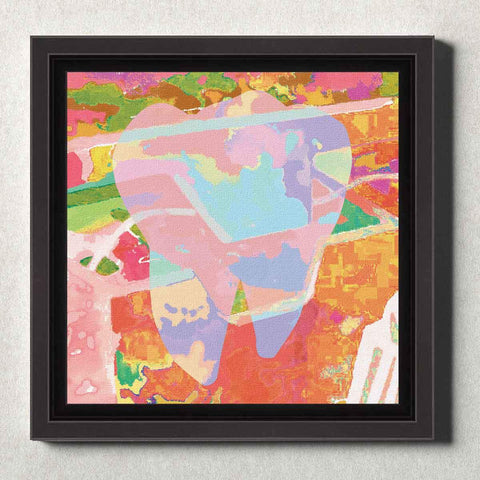 Image of Dental Office Canvas Wall Art Framed Abstract Tooth Orange