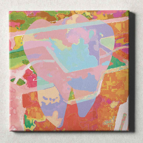 Dental Office Canvas Wall Art Gallery Wrapped Abstract Tooth Orange