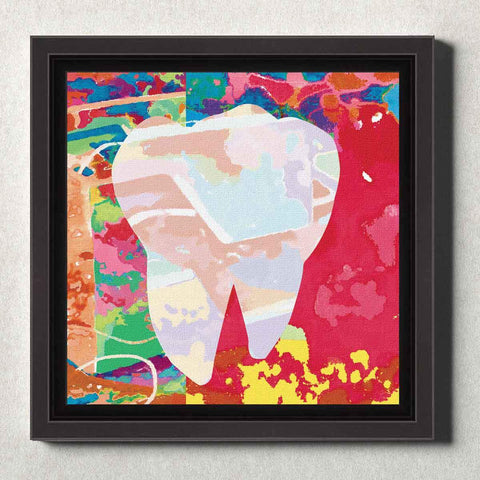 Image of Dental Office Canvas Wall Art Framed Abstract Tooth Red