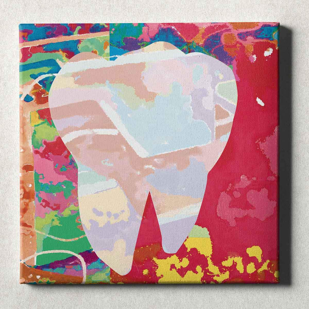 Dental Office Canvas Wall Art Gallery Wrapped Abstract Tooth Red