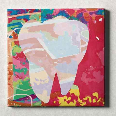 Image of Dental Office Canvas Wall Art Gallery Wrapped Abstract Tooth Red
