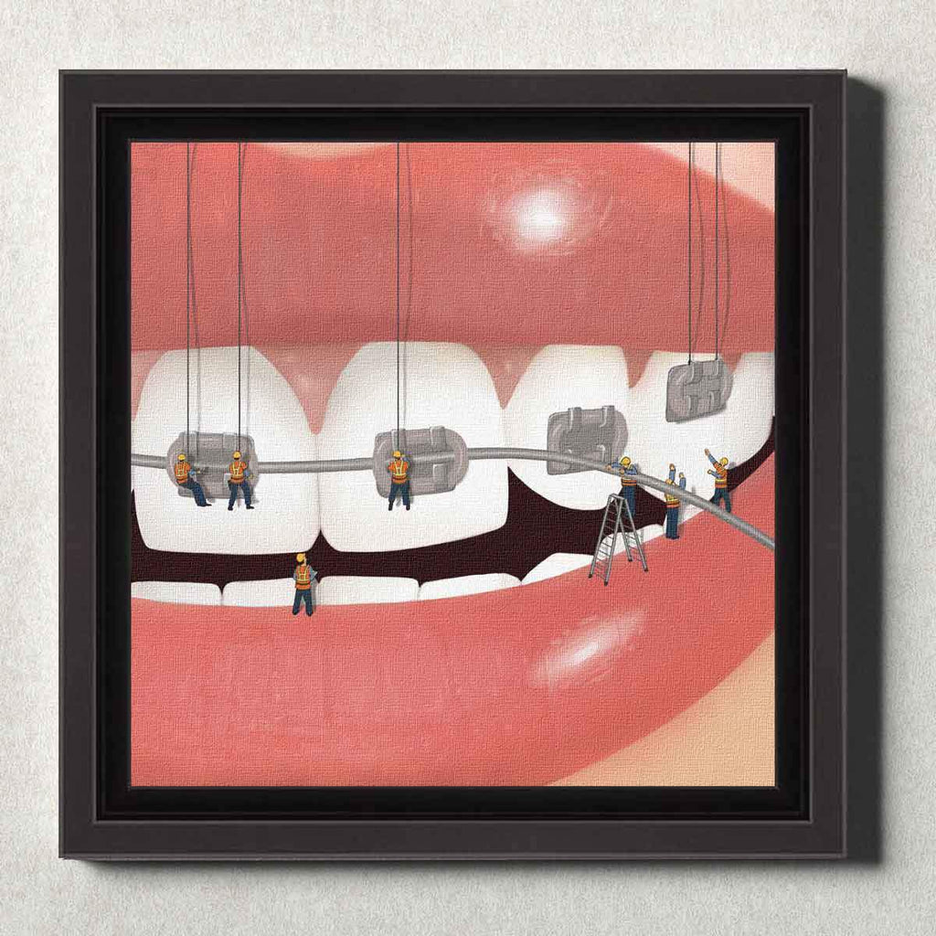 Dental Office Canvas Wall Art Framed Brace Face Silver